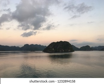 nice and colourfull sunrise on Ha Long Bay. Vietnam