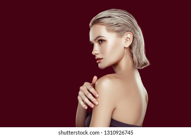 Nice complexion. Blonde-haired appealing woman with nice complexion posing for magazine