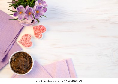 nice cookies in the form of heart and porridge of amaranth with prunes