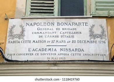 Nice, Cote D' Azur, France, June 2018, Napoleon Bonepart is commemorated on a sign in the street.