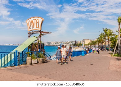 Nice cote d Azur. France. june 20 2019. A view of the beach Promenade des Anglaise in Nice in Cote d Azur in France