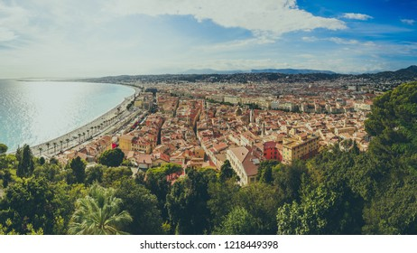 Nice, Cote d'Azur, French riviera, Panoramic view of the old town from the Castle hill