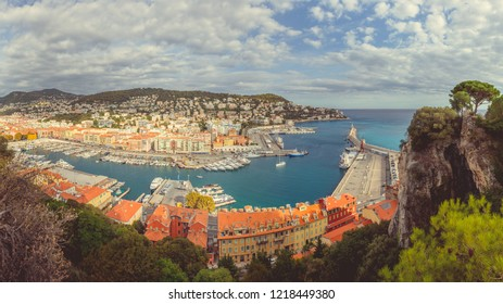 Nice, Cote d'Azur, South France, Panoramic view of the old port of Nice from the Castle Hill