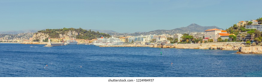 Nice, Cote d'Azur, South France, Panoramic view of the port of Nice