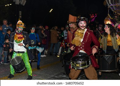 Nice, Cote d'Azur, France - 23th of February 2020: Carnaval de Nice 2020, This years theme King of Fashion show by night. Light parade, traditional carnival parade of carnival masks