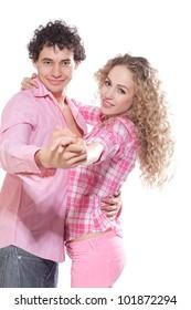 nice couple dancing in studio