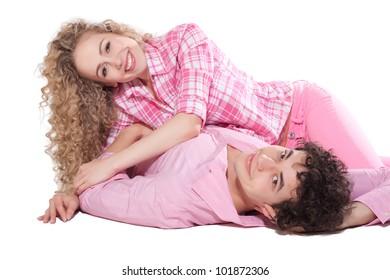 nice couple isolated on white