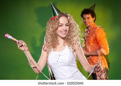 nice couple posing in studio
