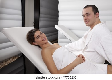 Nice Couple Relaxing in the Spa