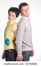 nice couple standing on a white background