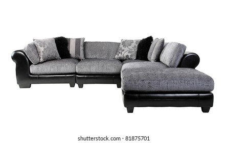 Nice and cozy felling of the luxury leather and fabric sofa in dark brown color