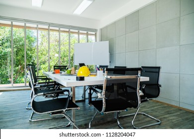 nice creativity office space and paper document in meeting conference room and modern funiture background