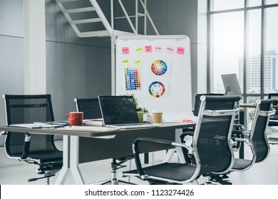 nice creativity office space with work station and modern funiture background