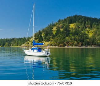 Nice cruise yacht in the Pacific Ocean over green shoreline and blue sky.