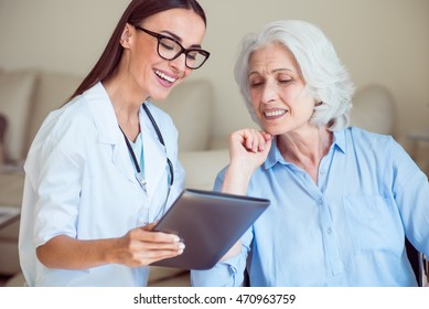 Nice doctor with senior patient