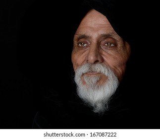 Nice Emotional Image of a senior man On Black