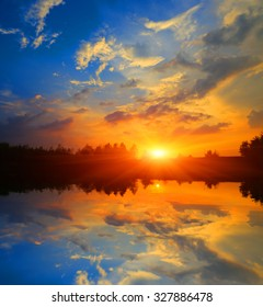 Nice evening sunset scene over lake