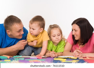 nice family drawing on the carpet on white