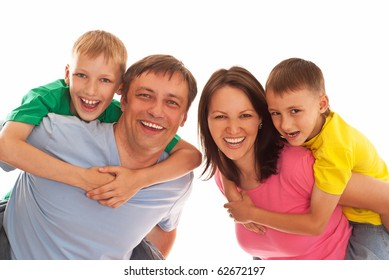 nice family of four on a white