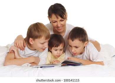 nice family lie on the floor and reading