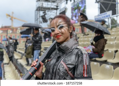 Nice - February 24: Female Entertainer in Carnival of Nice in French Riviera on February 24, 2013 in Nice, France