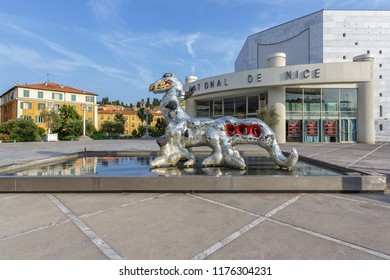 NICE, FRANCE - 06 JULY, 2015: Art installation and facade of Museum of Modern and Contemporary Art (MAMAC), major cultural and touristic landmark in Nice, France.