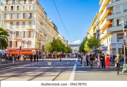 NICE, FRANCE: 15.10.2015 Street in Nice, Cote d'Azur, French Riviera, France