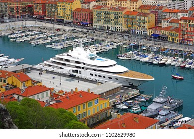 NICE, FRANCE -16 APR 2018- View of boats in the Port of Nice harbor on the Mediterranean Sea in Nice on the French Riviera.