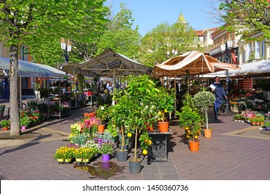 NICE, FRANCE -17 APR 2018- View of the landmark Marche aux Fleurs flower market on Cours Saleya in Nice, France.