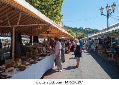 Nice, France - 18th may 2015: People shopping at Cours Saleya antique market in the city of Nice,France