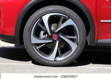 Nice, France 2018-08-16. Street of Nice.  GoodYear Eagle Car tyre on the  wheel  with DS logo