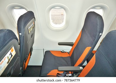 NICE, FRANCE -22 DEC 2017- Seats inside the cabin of an Airbus A320 airplane from British low-cost airline EasyJet U2) at the Nice Cote d'Azur Airport NCE) on the French Riviera.