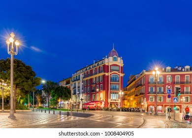 NICE, FRANCE- APRIL 14: Panoramic view of Place Massena (night shot) on April 14, 2016 in Nice, France. The city is located on the French Riviera (Cote d'Azur)
