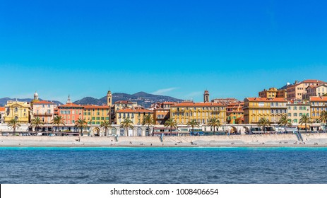 NICE, FRANCE- APRIL 14: Panoramic view of city from the sea on April 14, 2016 in Nice, France. The fifth most populous city in France and the capital of the Alpes Maritimes departement