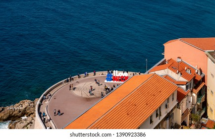 NICE, FRANCE - APRIL 20, 2019 : Sign I love Nice over Mediterranean sea in Nice, France.