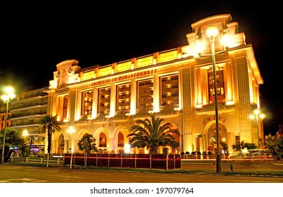 NICE, FRANCE - APRIL 24, 2012: Promenade des Anglais boasts the luxury hotels, restaurants and casinos, became especially unusual in the evening illumination, on April 24 in Nice.