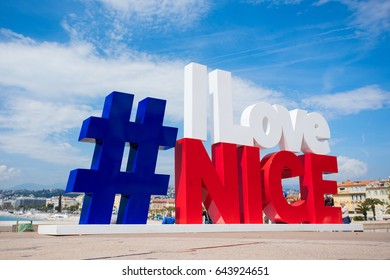 NICE, FRANCE - April 25, 2017: Modern urban art on promenade of Nice made as hashtag #ILoveNice is popular photo and selfie spot for tourists.