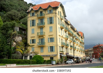 NICE, FRANCE - APRIL 27: Architecture along Promenade des Anglais on April 27, 2013 in Nice, France. It is a symbol of the Cote d'Azur and was built in 1830 at the expense of the British colony.