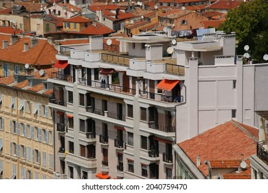 NICE, FRANCE - Aug 13, 2011: An aerial view of the famous city of Nice in France