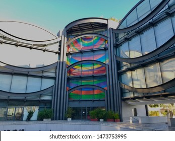 Nice, Nice / France - Aug 2 2019: Museum of Modern And Contemporary Art MAMAC exterior facade architecture design building