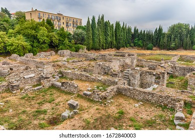 NICE, FRANCE - AUGUST 12: Ancient roman ruins in the archaeological site of Cimiez-Cemenelum, Nice, Cote d'Azur, France, as seen on August 12, 2019