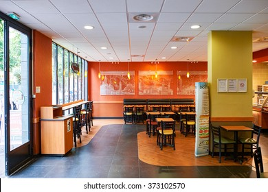 NICE, FRANCE - AUGUST 15, 2015: Subway fast food restaurant interior. Subway is an American fast food restaurant franchise that primarily sells submarine sandwiches (subs) and salads.