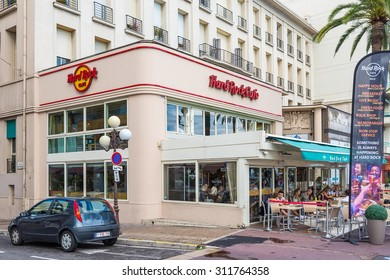 NICE, FRANCE - AUGUST 16, 2015: Hard rock cafe exterior on promenade in Nice. It is a chain of theme restaurants founded in 1971 by Americans Isaac Tigrett and Peter Morton in London.