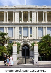 NICE, France - August 19, 2014: the neoclassic facade of the Prefecture palace, former Royal Palace of the Dukes of Savoy