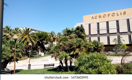Nice France - AUGUST 21, 2017: Palace of Arts, Tourism and Congresses. Palais des Congres Acropolis. Scenic view of modern building on a sunny day. The Cote d'Azur in South of France.