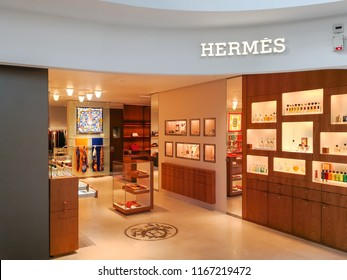 Nice, France, August 21, 2018: Hermes store in Nice. Hermes is a French high fashion luxury goods manufacturer established in 1837.