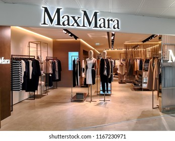 Nice, France - August 21, 2018: Max Mara store in Nice, France. Max Mara is an Italian fashion business. Max Mara is an Italian fashion business. It markets up-market ready-to-wear clothing.