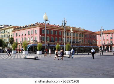 NICE, FRANCE - CIRCA 2016: Jean Medecin Avenue, this street features a large pedestrian square and is frequented by thousands of tourists each year.