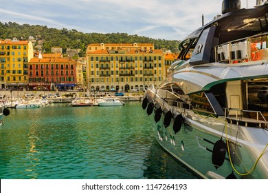 Nice, France - circa 2018 View of Nice, mediterranean resort, Cote d'Azur. Nice marina with blue sky, luxury resort and bay with yachts.