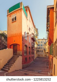 Nice, France, colorful traditional houses with courtyard in the Old Town